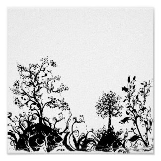 Black White Swirly Landscape Trees Fruit Hills Posters