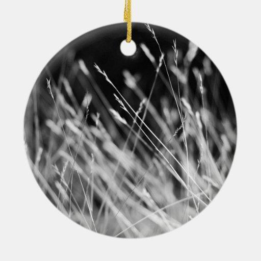 Black & White Tall Grass Christmas Ornament
