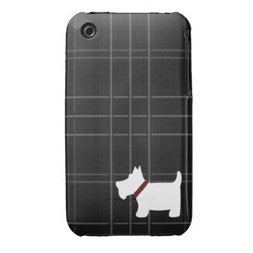 Black & White Tartan Pattern with Scottie Dog Case iPhone 3 Case-Mate Cases