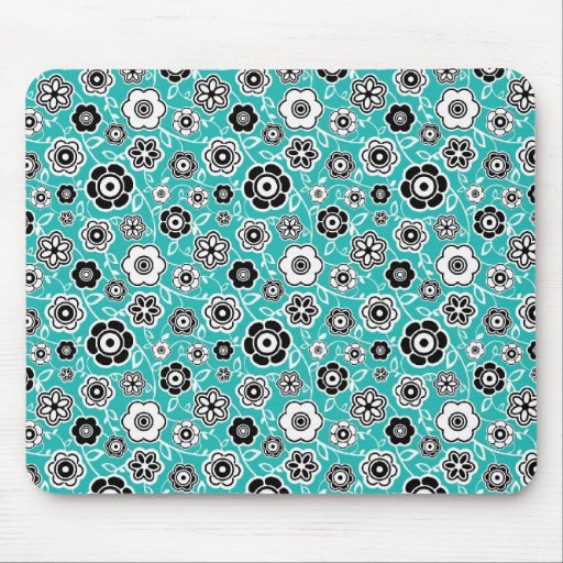 Black White Teal Blue Fun Flowery Pattern Mouse Pads