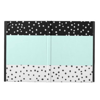 Black white teal watercolor polka dots pattern case for iPad air