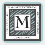 Black & White Teal Zebra Monogram Square Address Square Stickers