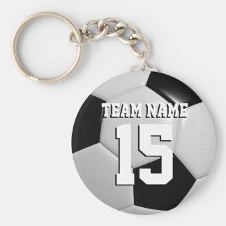 Black & White Team Soccer Ball Basic Round Button Key Ring