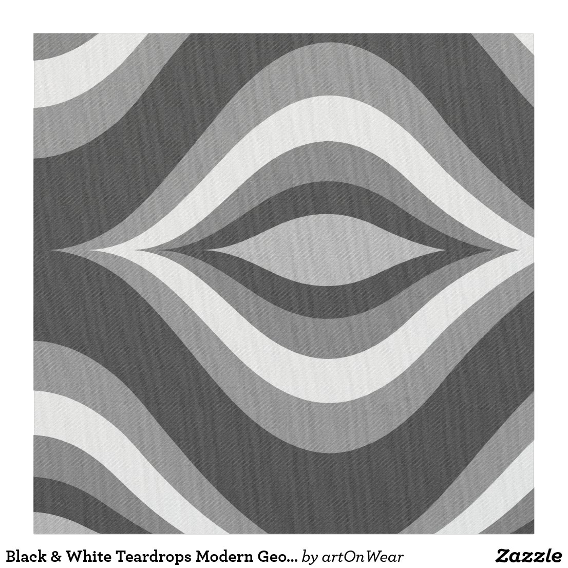 Black & White Teardrops Modern Geometric Pattern
