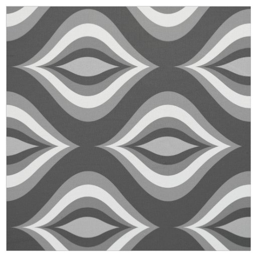 Black & White Teardrops Modern Geometric Pattern Fabric