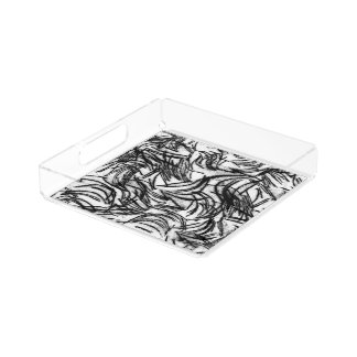black & white textured acrylic tray