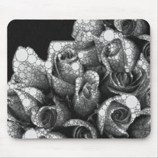Black&White Textured Roses Mouse Pad