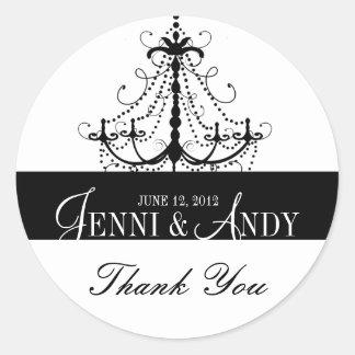Black White Thank You Chandelier Wedding Sickers Classic Round Sticker