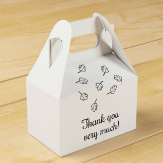 Black & White Thank You Fall Leaves Wedding Party Favour Box