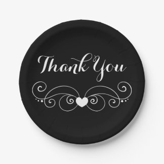 Black & White Thank You Love Heart Wedding Party Paper Plate