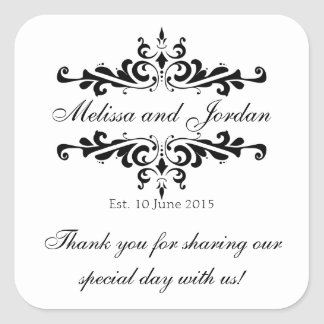 Black White Thank You Sticker for Wedding Favours
