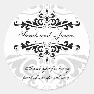 Black White Thank You Wedding Favor Sticker