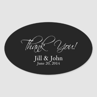 Black White Thank You Wedding Favour Sticker Oval