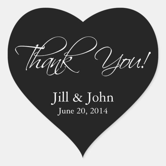 Black White Thank You Wedding Favour Stickers