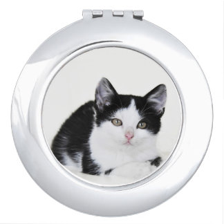 Black White Thoughtful Kitten Compact Mirror