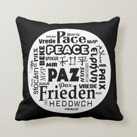 Black white throw cushion peace in multi languages