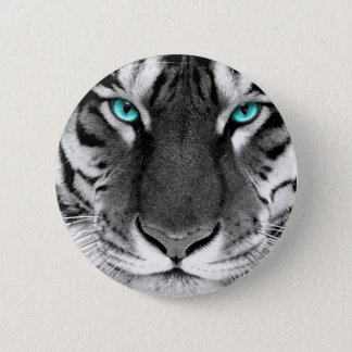 Black White Tiger 6 Cm Round Badge