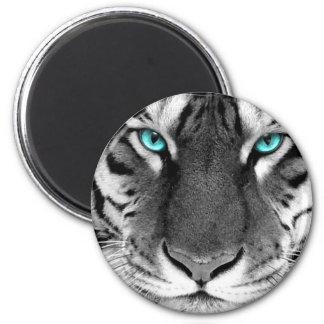 Black White Tiger 6 Cm Round Magnet