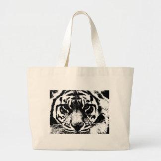 Black White Tiger Canvas Bags