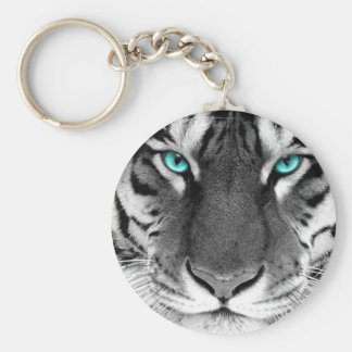 Black White Tiger Key Ring