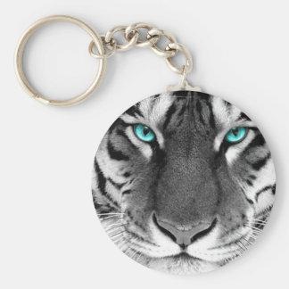 Black White Tiger Key Ring