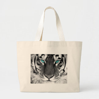 Black White Tiger Large Tote Bag