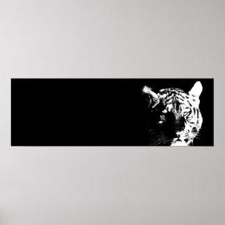 Black & White Tiger Pop Art Poster