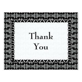 Black White Tiki Pattern Thank You 11 Cm X 14 Cm Invitation Card