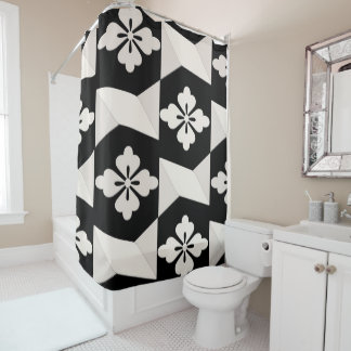 Black White Tiles Shower Curtain