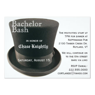 Black & White Top Hat Bachelor Party Invitation