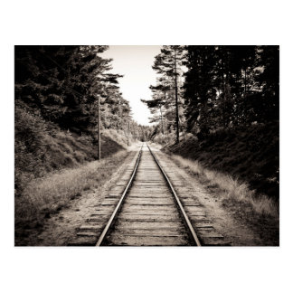 Black & White Train Tracks Postcard