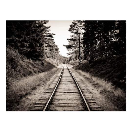Black & White Train Tracks Postcard