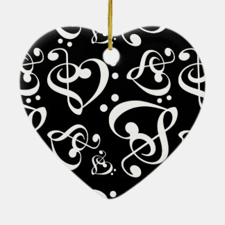 Black White Treble Bass Clef Heart Music Christmas Christmas Ornament