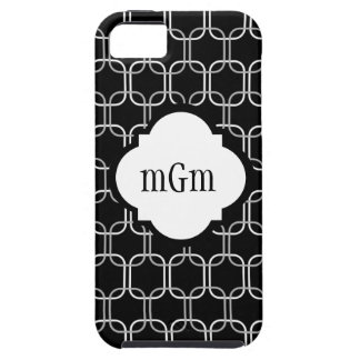 Black & White Trendy Linked Squares Monogram Tough iPhone 5 Case