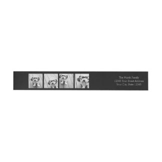 Black & White Trendy Photo Collage Return Address Wrap Around Label
