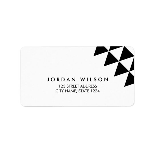Black & White Triangle Modern Geometric Address Address Label