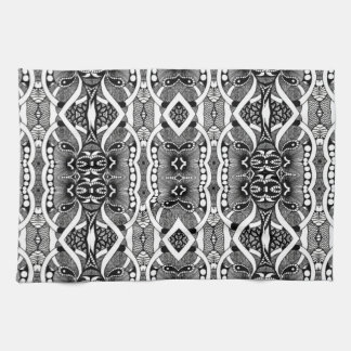 Black white tribal abstract kitchen towel