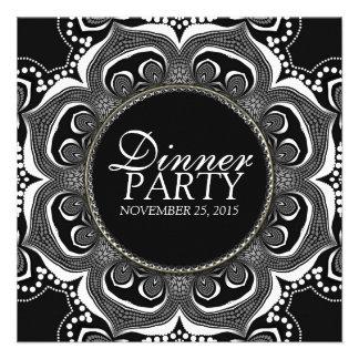 Black & White Tribal Flower Dinner Party Custom Invitations