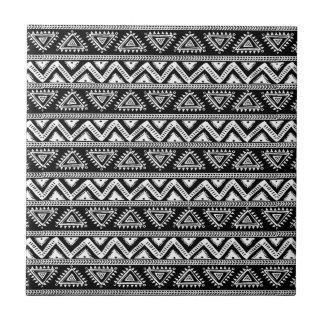 Black & White Tribal Geometric Pattern Small Square Tile