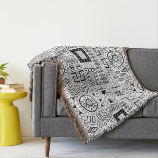 Black white Tribal pattern throw blanket decor