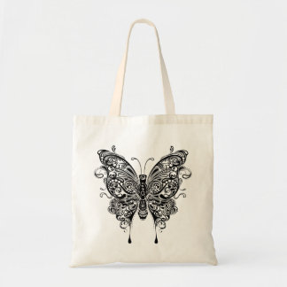 Black & White Tribal Style Butterfly Budget Tote Bag