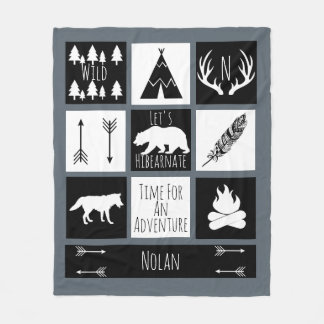 Black & White Tribal Wild Woodlands Gray Fleece Blanket