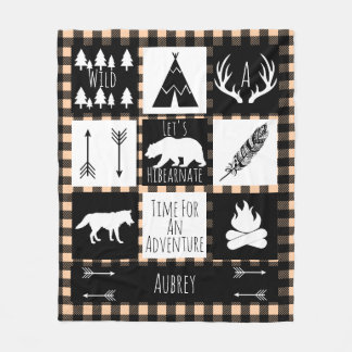 Black & White Tribal Wild Woodlands Taupe Plaid Fleece Blanket