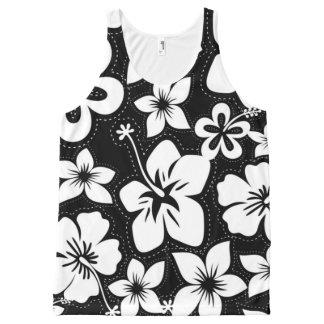 Black White Tropical Hawaiian Luau Hibiscus All-Over Print Tank Top