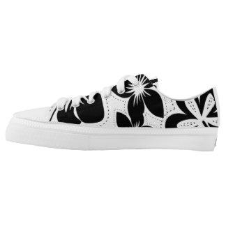 Black white Tropical Hibiscus Hawaiian Luau shoes Printed Shoes