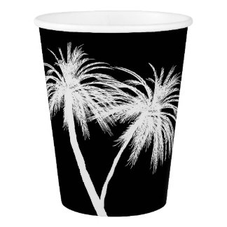 Black & White Tropical Palm Trees Modern Party Paper Cup