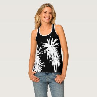 Black & White Tropical Palm Trees Retro Tank Top