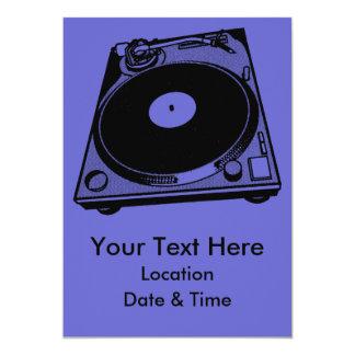 Black & White Turntable 13 Cm X 18 Cm Invitation Card