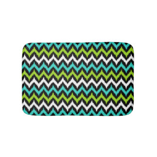 Black, White, Turquoise and Green Zigzag Ikat Bath Mat