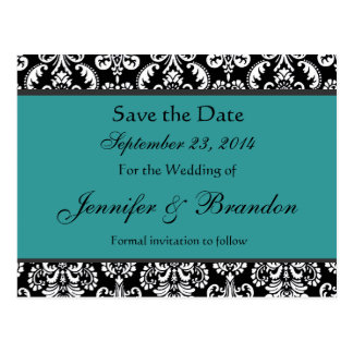 Black White Turquoise Damask Save Date Postcard